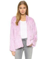 Elizabeth and James Bianca Fur Jacket - Lilac - Purple