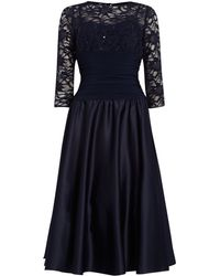 Eliza J Sweetheart Flared Dress with Lace Sleeves blue - Lyst