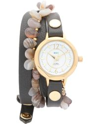 La Mer Collections - Santa Barbara Agate Wrap Watch - Gold/brown/agate - Lyst