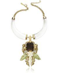 Roberto Cavalli Bronze And Plexiglass Monkey Necklace - Lyst