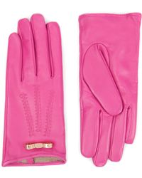Ted Baker Bow Detail Leather Gloves - Pink
