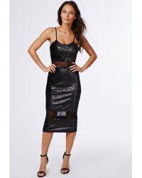 Missguided Shilin Sequin Mesh Insert Midi Dress Black - Lyst