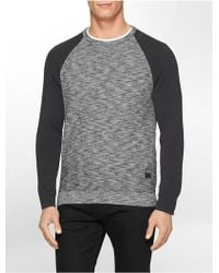 Calvin Klein Jeans Colorblock Rib Knit Cotton Sweater gray - Lyst