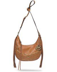 Michael Kors Rhea Studded Leather Small Shoulder Bag - Lyst