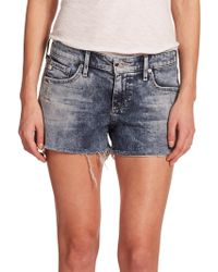 AG Adriano Goldschmied Bonnie Acid-Wash Cut-Off Denim Shorts blue - Lyst