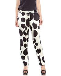 Derek Lam Ivory Dot Print Silk Drawstring Pants - Lyst