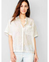 Gap Collarless Palm Print Shirt - Lyst