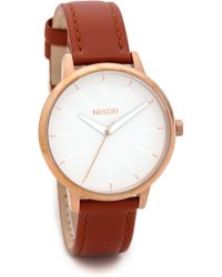 Nixon Kensington Leather Watch  Brownrose Gold - Lyst