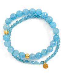 Satya Jewelry - Beaded Stretch Bracelets - Angelite (set Of 2) - Lyst