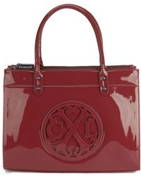 Christian Lacroix Patent Logo Tote Bag - Red