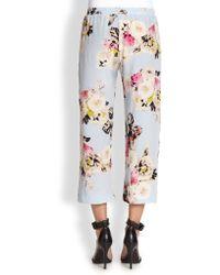 Pjk Patterson J. Kincaid Kelly Silk Cropped Floral print Pants - Gray