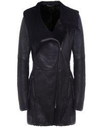 V.sp Hooded Shearling Coat - Lyst