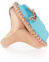 Amedeo - Royal Turquoise Elephant Ring With Sapphires - Lyst