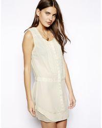 Aryn K. Drop Waist Embroidered Silk Shirt Dress - White
