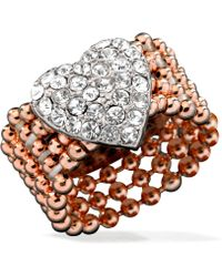 Guess Rose Gold-Tone Bead And Silver-Tone Pavé Heart Stretch Ring - Lyst