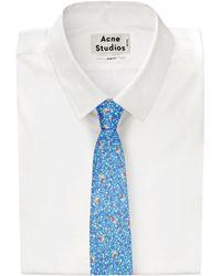 Drake's Blue Circle and Squares Print Silk Tie