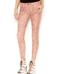 Guess Brittney Pythonprint Skinny Ankle Jeans - Lyst