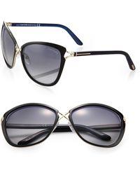 Tom Ford Celia Metal-Bridge Cat'S-Eye Sunglasses black - Lyst