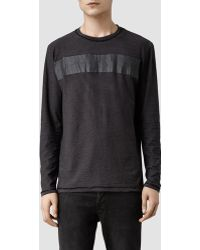 AllSaints Diagon Long Sleeved Crew T-shirt - Lyst
