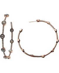 Sylva & Cie - Rough Diamond Caviar Hoop Earrings - Lyst