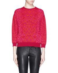 Alexander McQueen Bespeckled Leopard Knit Sweater - Lyst