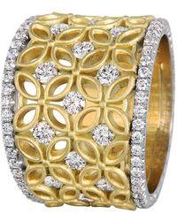 Jack Kelége 'gatana' Wide Diamond Band Ring - Yellow
