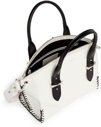 Alexander McQueen 'Legend' Small Blanket Stitch Leather Bag white - Lyst