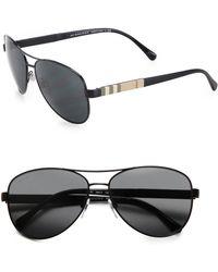Burberry 59Mm Check-Print Aviator Sunglasses - Lyst