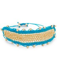 Sam Edelman Chain Mail Macrame Bracelet - Blue