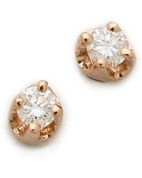 Ginette NY Mini Diamond Puce Earrings - Clear/Rose Gold - Lyst