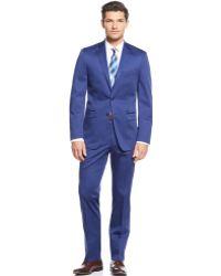 Calvin Klein Blue Cotton Solid Slim-Fit Suit - Lyst
