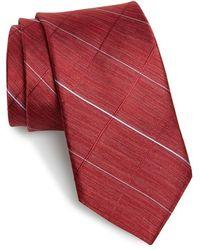 Michael Kors Windowpane Plaid Silk Tie - Red