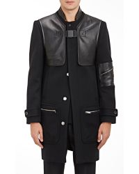 Tim Coppens - Leather-detailed Melton Coat - Lyst