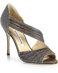Manolo Blahnik | Treuil Pleated Metallic Sandals | Lyst