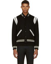 Saint Laurent Black Classic Varsity Teddy Jacket - Lyst