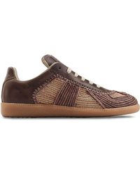 Maison Margiela Leather And Raffia Sneakers - Lyst