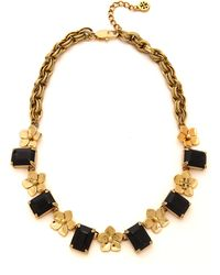 Tory Burch Cecily Short Necklace Midnight Blueantiqued Gold - Lyst