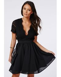 Missguided Faith Lace Backless Skater Dress Black - Lyst