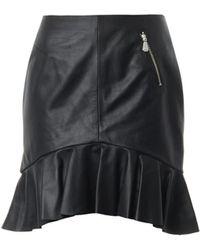 McQ by Alexander McQueen Frill-hem Leather Skirt - Lyst