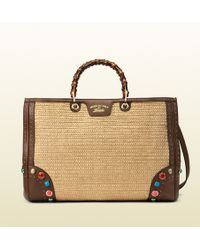 Gucci Bamboo Shopper Straw Tote With Embroidered Stone Detail - Natural