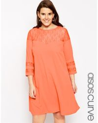 Asos Curve Dress With Lace Insert - Lyst