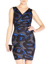 Halston Heritage Printed Surplice Dress - Lyst