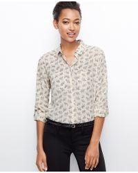 Ann Taylor Camel Print Silk Camp Shirt - Lyst