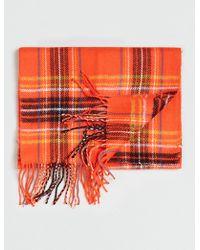 Topman Orangetartan Print Scarf - Lyst