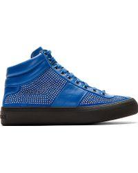 Jimmy Choo Blue Studded Belgravi High_top Sneakers - Lyst