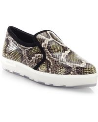Jimmy Choo Brooklyn Snakeskin-Embossed Leather Sneakers - Lyst