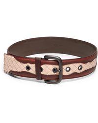 Bottega Veneta Leather Contrast Belt - Lyst