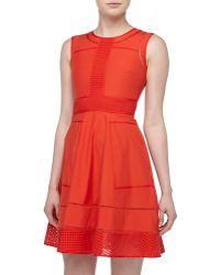Rachel Roy Cutouttrim Fitandflare Dress - Lyst