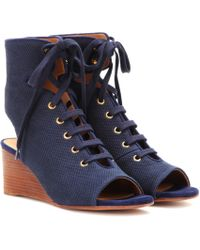Chloé Iness Lace-up Wedge Sandals - Blue