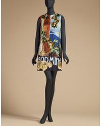 Dolce & Gabbana | Postcard Dress In Printed Silk With Embroidery | Lyst